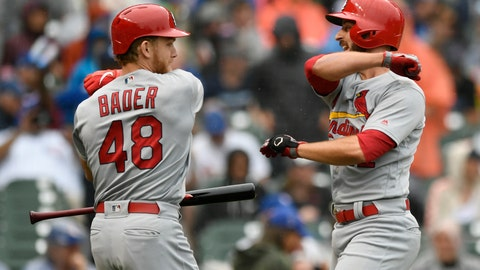 <p>               St. Louis Cardinals' Paul DeJong right, celebrates with teammate Harrison Bader (48) after hitting a solo home run during the third inning of a baseball game against the Chicago Cubs, Sunday, Sept. 22, 2019, in Chicago. (AP Photo/Paul Beaty)             </p>