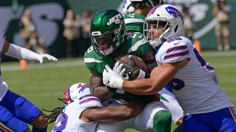 <p>               Buffalo Bills' Matt Milano (58) and Tremaine Edmunds (49) tackle New York Jets' Le'Veon Bell (26) tduring the first half of an NFL football game Sunday, Sept. 8, 2019, in East Rutherford, N.J. (AP Photo/Bill Kostroun)             </p>
