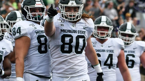 <p>               Michigan State tight end Matt Seybert (80) gestures after scoring a touchdown against Northwestern during the second half of an NCAA college football game, Saturday, Sept. 21, 2019, in Evanston, Ill. (AP Photo/David Banks)             </p>