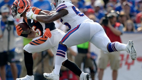 <p>               FILE - In this Aug. 26, 2018, file photo, Cincinnati Bengals running back Giovani Bernard, left, is tackled by Buffalo Bills defensive end Jerry Hughes during the first half of a preseason NFL football game in Orchard Park, N.Y. The Bengals travel to Orchard Park this week for the Bills' home-opener. (AP Photo/Adrian Kraus, File)             </p>