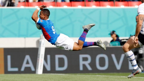 <p>               Namibia's Damian Stevens dives to score a try against Italy during the Rugby World Cup Pool B game between Italy and Namibia in Osaka, western Japan, Sunday, Sept. 22, 2019. (Yuki Sato/Kyodo News via AP)             </p>