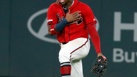 <p>               Atlanta Braves center fielder Ronald Acuna Jr. reacts after defeating the San Francisco Giants 6-0 in a baseball game to clinch the NL east baseball title Friday, Sept. 20, 2019, in Atlanta. (AP Photo/John Bazemore)             </p>