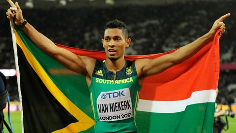 "<p>               FILE - In this Thursday, Aug. 10, 2017 file photo, South Africa's Wayde van Niekerk celebrates after taking the silver medal in the Men's 200m final during the World Athletics Championships in London. Van Niekerk won't defend his 400-meter title at the world championships because he is still recovering from a serious knee injury sustained while playing a charity tag rugby match in late 2017. Van Niekerk's management company on Monday, Sept. 2, 2019 says the Olympic champion and world-record holder had ""a setback"" earlier this year and has delayed his comeback to competition for ""precautionary reasons."" (AP Photo/Tim Ireland, File)             </p>"