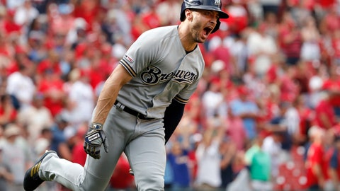 <p>               Milwaukee Brewers' Ryan Braun celebrates hitting a grand slam during the ninth inning of a baseball game against the St. Louis Cardinals Sunday, Sept. 15, 2019, in St. Louis. (AP Photo/Jeff Roberson)             </p>
