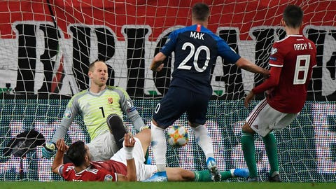 <p>               Slovakia's Robert Mak, center, shoots to score the opening goal during the Euro 2020 Group E qualifying soccer match between Hungary and Slovakia in Groupama Arena in Budapest, Hungary, Monday, Sept. 9, 2019. (Tamas Kovacs/MTI via AP)             </p>