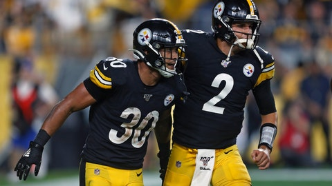 <p>               Pittsburgh Steelers running back James Conner (30) celebrates his touchdown with quarterback Mason Rudolph during the first half of an NFL football game in Pittsburgh, Monday, Sept. 30, 2019. (AP Photo/Tom Puskar)             </p>