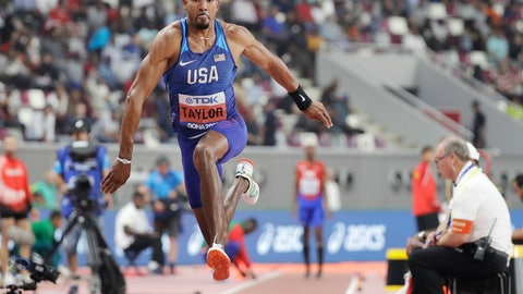 <p>               Christian Taylor, of the United States, competes in the men's triple jump final at the World Athletics Championships in Doha, Qatar, Sunday, Sept. 29, 2019. Taylor won the gold medal in the event. (AP Photo/Hassan Ammar)             </p>