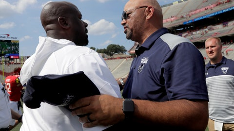 <p>               Maryland head coach Michael Locksley, left, shakes hands with Howard head coach Ron Prince after an NCAA college football game, Saturday, Aug. 31, 2019, in College Park, Md. Maryland won 79-0. (AP Photo/Julio Cortez)             </p>