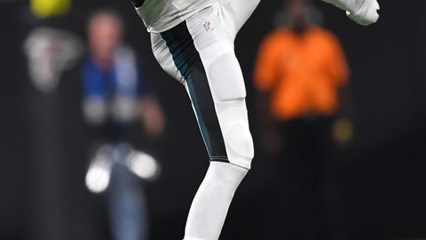 <p>               Philadelphia Eagles wide receiver Nelson Agholor (13) makes the catch against the Atlanta Falcons during the second half of an NFL football game, Sunday, Sept. 15, 2019, in Atlanta. (AP Photo/John Amis)             </p>