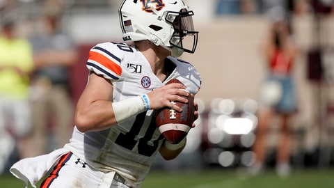 <p>               Auburn quarterback Bo Nix (10) looks down field to pass against Texas A&M during the first half of an NCAA college football game, Saturday, Sept. 21, 2019, in College Station, Texas. (AP Photo/Sam Craft)             </p>