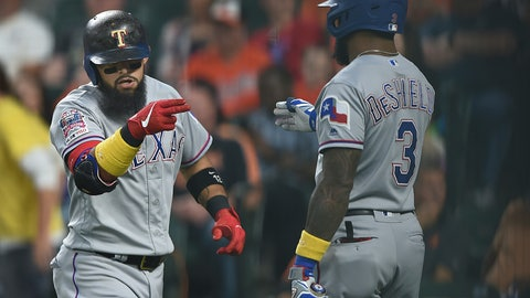 <p>               Texas Rangers Rougned Odor, left, motions to Delino DeShields after hitting a three-run home run against the Baltimore Orioles in the first inning of a baseball game, Saturday, Sept. 7, 2019, in Baltimore. (AP Photo/Gail Burton)             </p>