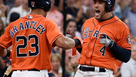 <p>               Houston Astros' George Springer, right, celebrates his two-run home run off Los Angeles Angels relief pitcher Jose Rodriguez with Michael Brantley during the second inning of a baseball game Sunday, Sept. 22, 2019, in Houston. (AP Photo/Eric Christian Smith)             </p>