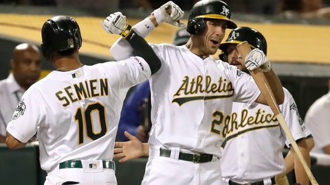 <p>               Oakland Athletics' Marcus Semien (10) celebrates with Matt Olson, right, after hitting a home run against the Texas Rangers during the fifth inning of a baseball game Saturday, Sept. 21, 2019, in Oakland, Calif. (AP Photo/Ben Margot)             </p>