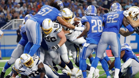 <p>               Los Angeles Chargers running back Austin Ekeler (30) fumbles the ball against the Detroit Lions in the second half of an NFL football game in Detroit, Sunday, Sept. 15, 2019. (AP Photo/Rick Osentoski)             </p>