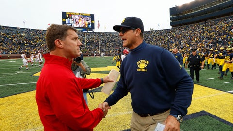 <p>               Rutgers head coach Chris Ash, left, and Michigan head coach Jim Harbaugh shake hands after an NCAA college football game in Ann Arbor, Mich., Saturday, Sept. 28, 2019. Michigan won 52-0. (AP Photo/Paul Sancya)             </p>
