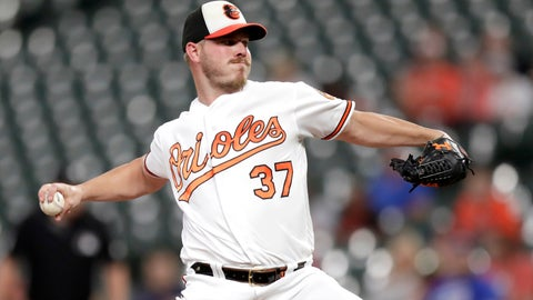 <p>               Baltimore Orioles starting pitcher Dylan Bundy throws to a Toronto Blue Jays batter during the first inning of a baseball game, Wednesday, Sept. 18, 2019, in Baltimore. (AP Photo/Julio Cortez)             </p>