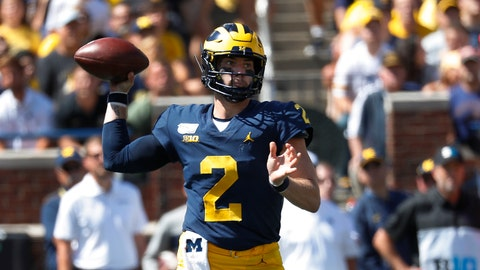 <p>               Michigan quarterback Shea Patterson throws against Army in the first half of an NCAA college football game in Ann Arbor, Mich., Saturday, Sept. 7, 2019. (AP Photo/Paul Sancya)             </p>