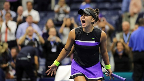 <p>               Bianca Andreescu, of Canada, reacts after defeating Belinda Bencic, of Switzerland, during the semifinals of the U.S. Open tennis championships Thursday, Sept. 5, 2019, in New York. (AP Photo/Charles Krupa)             </p>