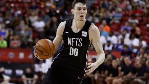 <p>               FILE- In this July 14, 2019, file photo, Brooklyn Nets forward Rodions Kurucs plays against the Minnesota Timberwolves during an an NBA summer league basketball game in Las Vegas. Kurucs was arrested in New York on Tuesday, Sept. 3, 2019, for allegedly assaulting his former girlfriend inside his apartment. Police say the 32-year-old woman claims she had a verbal dispute with Kurucs in his apartment on June 27, when he struck and choked her. (AP Photo/John Locher, File)             </p>