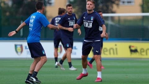 <p>               Italy forward Ciro Immobile attends a training session ahead of Thursday's Euro 2020, group J, qualification soccer match against Armenia, in Bologna, Italy, Monday, Sept. 2, 2019. (Giorgio Benvenuti/ANSA via AP)             </p>