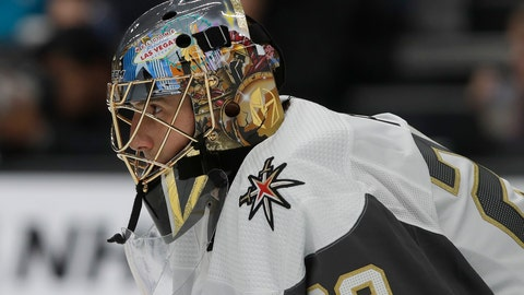 <p>               Vegas Golden Knights goaltender Marc-Andre Fleury watches action while defending his net during the first period of an NHL preseason hockey game against the San Jose Sharks in San Jose, Calif., Saturday, Sept. 21, 2019. (AP Photo/Jeff Chiu)             </p>