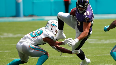 <p>               Miami Dolphins free safety Minkah Fitzpatrick (29) tackles Baltimore Ravens tight end Mark Andrews (89), during the first half at an NFL football game, Sunday, Sept. 8, 2019, in Miami Gardens, Fla. (AP Photo/Wilfredo Lee)             </p>