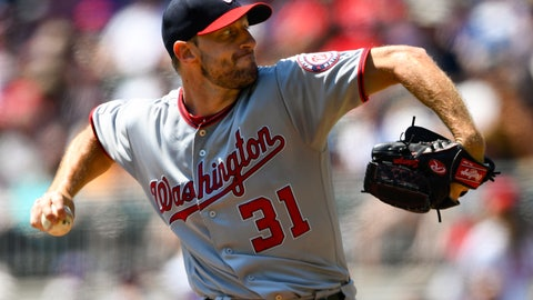 <p>               Washington Nationals' Max Scherzer pitches during the first inning of a baseball game against the Atlanta Braves, Sunday, Sept. 8, 2019, in Atlanta. (AP Photo/John Amis)             </p>