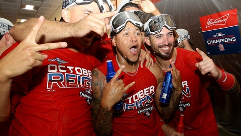 <p>               St. Louis Cardinals players celebrate their National League central division win after defeating the Chicago Cubs, Sunday, Sept. 29, 2019, in St. Louis. (AP Photo/Scott Kane)             </p>