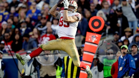 <p>               FILE - In this Dec. 30, 2018, file photo, San Francisco 49ers tight end George Kittle catches a pass against the Los Angeles Rams during the first half in an NFL football game in Los Angeles. No tight end has ever been as prolific with the ball in his hands as Kittle was for the 49ers last season when he used his speed and ability to run after the catch to record the most yards receiving ever in a season for a tight end. (AP Photo/Marcio Jose Sanchez, File)             </p>