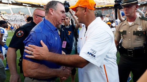 <p>               Georgia State head coach Shawn Elliott, left, is congratulated by Tennessee head coach Jeremy Pruitt after a win an NCAA college football game Saturday, Aug. 31, 2019, in Knoxville, Tenn. (AP Photo/Wade Payne)             </p>