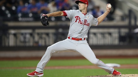 <p>               Philadelphia Phillies starting pitcher Drew Smyly delivers against the New York Mets during the third inning of a baseball game, Saturday, Sept. 7, 2019, in New York. (AP Photo/Mary Altaffer)             </p>