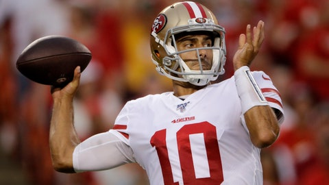 <p>               FILE - In this Aug. 24, 2019, file photo, San Francisco 49ers quarterback Jimmy Garoppolo (10) throws a pass during the first half of an NFL preseason football game against the Kansas City Chiefs, in Kansas City, Mo. After an up-and-down preseason in his recovery from ACL surgery, San Francisco 49ers quarterback Jimmy Garoppolo prepares for his first real game in nearly a year. (AP Photo/Charlie Riedel, File)             </p>