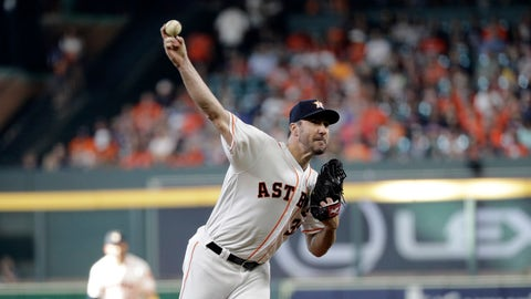 <p>               Houston Astros starting pitcher Justin Verlander throws against the Seattle Mariners during the first inning of a baseball game Saturday, Sept. 7, 2019, in Houston. (AP Photo/David J. Phillip)             </p>