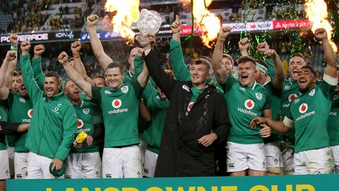 <p>               FILE - In this Saturday, June 23, 2018 file photo, Ireland's Peter O'Mahony, center, holds up the Lansdowne Cup as he celebrates with teammates following their win over Australia in their rugby union test match in Sydney. After his No. 1-ranked All Blacks lost to the Irish last November in Dublin, coach Steve Hansen hailed Ireland as the best team in the world. The good vibes lasted for 76 days, until England showed up at Lansdowne Road in February and brought the Irish plummeting to earth in a crushing defeat to open the Six Nations. Wales smashed them again to clinch the title, and doubts swirled about Ireland's ability to contend for the World Cup. (AP Photo/Rick Rycroft, file)             </p>
