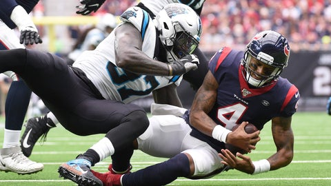 <p>               Houston Texans quarterback Deshaun Watson (4) is sacked by Carolina Panthers linebacker Mario Addison (97) during the first half of an NFL football game Sunday, Sept. 29, 2019, in Houston. (AP Photo/Eric Christian Smith)             </p>