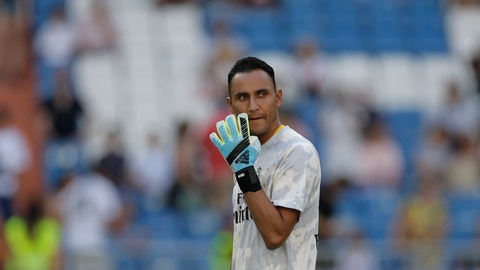 <p>               Real Madrid's goalkeeper Keylor Navas gestures prior of the Spanish La Liga soccer match between Real Madrid and Valladolid at the Santiago Bernabeu stadium in Madrid, Spain, Saturday, Aug. 24, 2019. (AP Photo/Paul White)             </p>