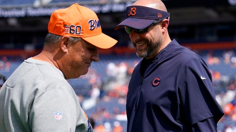 <p>               Denver Broncos head coach Vic Fangio, left, talks with Chicago Bears head coach Matt Nagy prior to an NFL football game, Sunday, Sept. 15, 2019, in Denver. (AP Photo/Jack Dempsey)             </p>