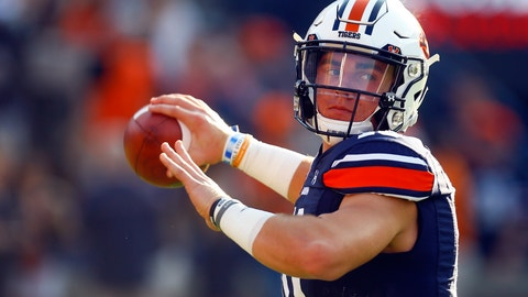 <p>               Auburn quarterback Bo Nix (10) warms up before the first half of an NCAA college football game against Kent State, Saturday, Sept. 14, 2019, in Auburn, Ala. (AP Photo/Butch Dill)             </p>