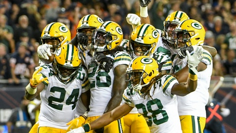 <p>               Green Bay Packers players pose for a picture after an NFL football game against the Chicago Bears Thursday, Sept. 5, 2019, in Chicago. The Packers won 10-3. (AP Photo/David Banks)             </p>