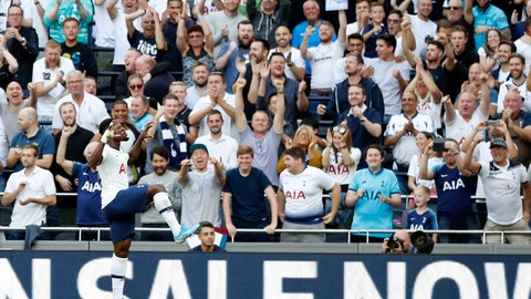 <p>               Tottenham's Serge Aurier celebrates after Crystal Palace's Patrick van Aanholt scores an own goal past his goalkeeper during their English Premier League soccer match between Tottenham Hotspur and Crystal Palace at White Hart Lane stadium in London, Saturday, Sept. 14, 2019. (AP Photo/Alastair Grant)             </p>