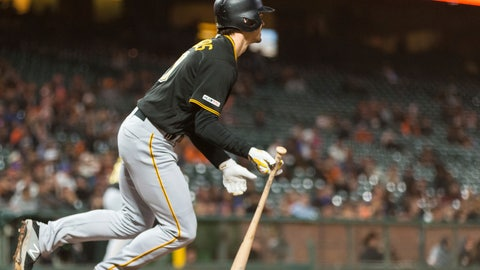 <p>               Pittsburgh Pirates' Bryan Reynolds hits a RBI single for the go-ahead run against the San Francisco Giants in the ninth inning of a baseball game in San Francisco, Monday, Sept. 9, 2019. (AP Photo/John Hefti)             </p>