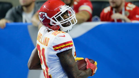 <p>               Kansas City Chiefs defensive back Bashaud Breeland crosses into the end zone, after recovering a fumble, for a 100-yard touchdown run during the second half of an NFL football game, Sunday, Sept. 29, 2019, in Detroit. (AP Photo/Duane Burleson)             </p>