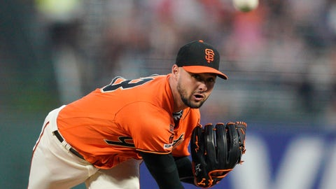 <p>               San Francisco Giants pitcher Tyler Beede works against the Miami Marlins during the first inning of a baseball game Friday, Sept. 13, 2019, in San Francisco. (AP Photo/Tony Avelar)             </p>