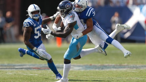 <p>               Indianapolis Colts cornerback Quincy Wilson (31) breaks up a pass intended for Tennessee Titans wide receiver A.J. Brown (11) to end the Titans' final drive in the final seconds of the fourth quarter of an NFL football game Sunday, Sept. 15, 2019, in Nashville, Tenn. (AP Photo/Wade Payne)             </p>
