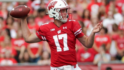 <p>               Wisconsin's Jack Coan throws during the first half of an NCAA college football game against Central Michigan Saturday, Sept. 7, 2019, in Madison, Wis. (AP Photo/Morry Gash)             </p>