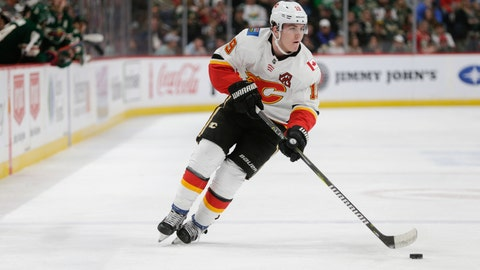 <p>               FILE - In this Dec. 15, 2018, file photo, Calgary Flames' Matthew Tkachuk (19) plays against the Minnesota Wild during an NHL hockey game, in St. Paul Minn. The Flames have signed Tkachuk to a three-year, $21 million deal. The deal carrying an annual average value of $7 million makes him the highest-paid Flames player on the roster this season, and keeps him with the team through the 2021-22 season.(AP Photo/Paul Battaglia, File)             </p>