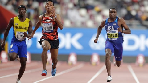 <p>               From right, Christian Coleman of the United States, Japan's Abdul Hakim Sani Brown and Barbados' Mario Burke compete during the men' 100 meters heats at the World Athletics Championships in Doha, Qatar, Friday, Sept. 27, 2019. (AP Photo/Petr David Josek)             </p>
