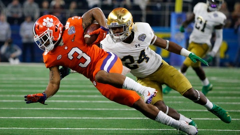 <p>               FILE - In this Saturday, Dec. 29, 2018 file photo, Clemson wide receiver Amari Rodgers (3) stretches out for extra yardage after catching a pass as Notre Dame safety Nick Coleman (24) defends in the first half of the NCAA Cotton Bowl semi-final playoff football game in Arlington, Texas. Amari Rodgers was about the only one around Clemson last March who thought he wouldn't miss most of the season after tearing the anterior cruciate ligament in his right knee. (AP Photo/Michael Ainsworth, File)             </p>