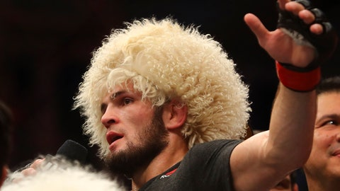 <p>               Russian UFC fighter Khabib Nurmagomedov, speaks after wining against UFC fighter Dustin Poirier, of Lafayette, La., during Lightweight title mixed martial arts bout at UFC 242, in Yas Mall in Abu Dhabi, United Arab Emirates, Saturday , Sept.7 2019. (AP Photo/ Mahmoud Khaled)             </p>