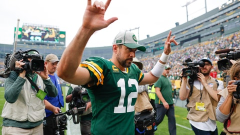<p>               Green Bay Packers' Aaron Rodgers celebrates after an NFL football game against the Minnesota Vikings Sunday, Sept. 15, 2019, in Green Bay, Wis. The Packers won 21-16. (AP Photo/Matt Ludtke)             </p>